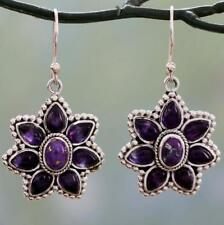 Vintage Boho 925 Silver Charoite Drop Dangle Flower Hook Earrings Wholesale