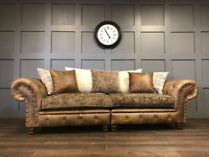 4 Seater Chesterfield Sofa Modern Persia Leather Fabric Plush Couch Living Room