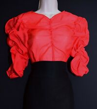 Ladies Sheer Blouse Red Organza Silky Top Glam Ladylike Mistress Cosplay 8 10 XS
