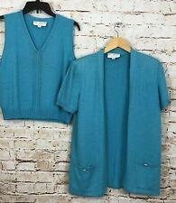 St JOHN cardigan twin set womens petite/small sweater shell tank top knit BO