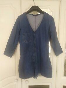 Zara Trafaluc Denim Makers Denim Long Sleeve Playsuit Size S