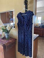 Jones New York Woman dress 14W blue with white polka dot sleeveless stretch
