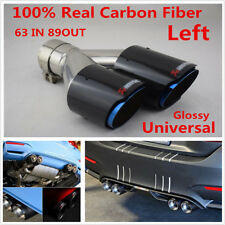 Glossy Chrome Blue Carbon Fiber Car Dual Exhaust Pipe Tail Muffler Tip Left Side