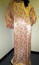 "Vintage: Satin! ""Special Cut� Peach Floral Satin Balloon Shirt Style Gown"