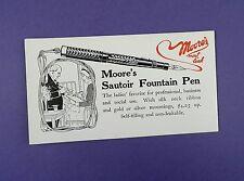 Original Moore's Fountain Pen Vintage Blotter c1920s