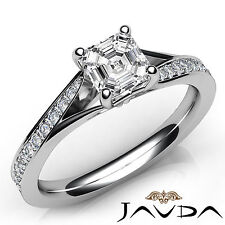 Shiny Asscher Diamond Engagement Pave Ring GIA H Color SI1 18k White Gold 1.08Ct