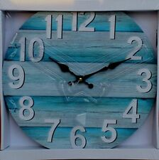 REDUCED   Beach Style   Wood Wall Clock 34 cm BRAND NEW