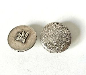 Antique Silver Tone Engraved TWO BACHELOR Buttons - In Gift Box