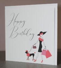 Happy Birthday Card, Femaile Birthday Card, Parisian Inspired Blank Card, White