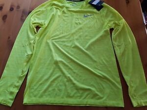 NIKE LONG SLEEVE RUNNING TOP FLUORESCENT YELLOW SIZE LARGE BRAND NEW WITH TAGS