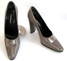 KARL LAGERFELD Escarpins talons 9.5 cm tout cuir gris taupe 5.5 36.5 COMME NEUF