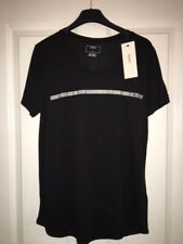 DKNY Black Silver T-shirt Top size small 10-12 NEW RRP £70