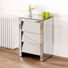 50s Style Angled Mirrored Glass 3 Drawer Mirrored Bedside - Cabinet Table VEN21