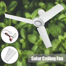"""Portable 12V 20"""" Solar Ceiling Fan 3 Blade Caravan Camping with Switch 6W White"""