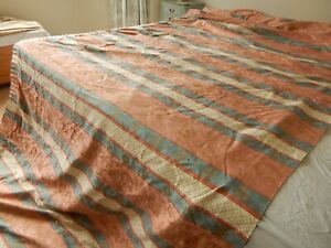 """Vtg French Woven Tapestry Brocade Regency Gold Threads Single Curtain 59""""D 207""""W"""
