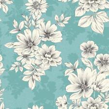 Rasch Tivoli Flor Floral Cuadrado Motivo Metálico Papel Pintado Texturizado Azul