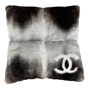 CHANEL 2018 Orylag Sheared rabbit Fur CC Pillow Grey
