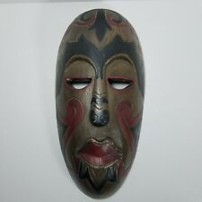 Tiki Mask Tribal Indonesia African wooden hand carved mask unique 17""