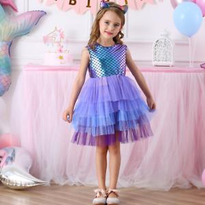 Birthday Kid Girl Sequin Scale Mermaid Princess Sleeveless Layered Tutu Dresses