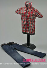 "1/6 Red Plaid Short Sleeves Shirt Blue Jeans Set For 12"" Figure SHIP FROM USA"