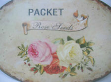 SHABBY ROSES METAL TIN OVAL SIGN PLAQUE