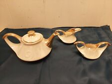 New listing Vintage Pearl China Co. Tea Pot & Creamer Sugar Set Hand Decorated 22KT Gold