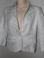 lili petrus express italy white silver buttons cotton 3/4 slee jacket top size 4
