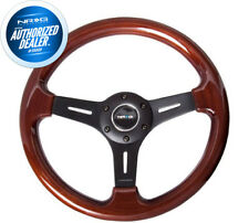 NEW NRG Steering Wheel Classic Wood Grain Black Spokes 330mm+HARDWARE ST-015-1BK