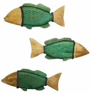 Beach House Patio Island Cottage Wood Carved Fish Wall Decor Sculpture Set of 3