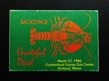 Grateful Dead Backstage Pass Lobster Shell Fish Rose Portland Maine 3/27/1986 Me