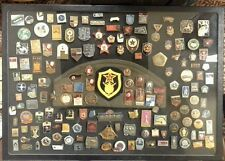 VINTAGE SOVIET UNION USSR RUSSIAN PIN COLLECTION WITH RUSSIAN MILITARY CAP