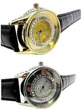 Men's New White On White/White On Yellow Diamond Simulate Ice Out Watch+Leather