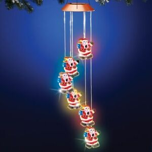 Solar Powered LED Lights Hanging Santa Claus Christmas Dangler Wind Chime