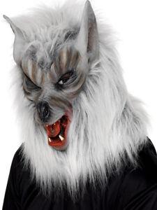 Neuf Adulte Tête Masque Loup Argent Halloween Loup-Garou Accessoire Déguisement
