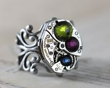 Mothers Ring Silver Birthstone Mom Day Gift Personalized Custom Steampunk 1 2 3