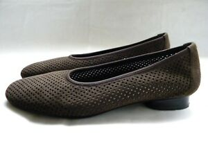 Stuart Weitzman Nicco Brown Ultra Suede Perforated Slip On Flats Size 6