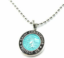 Mini Saint Christopher Medal Necklace Protector of Travel aq-bk Aquamarine-Black