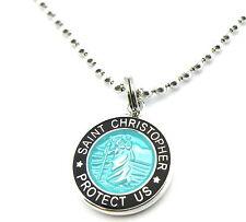 Mini Saint Christopher Medal Necklace Protector of Travel aq-bk Aquamarine-Black
