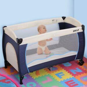 Lettino Culla Box Gioco Campeggio Bambini Neonato Pieghevole 120x63x76cm Blu