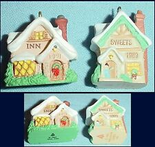 "2 Old English Village Building Mini Ornaments 1989 Sweets & 1991 Inn Hallmark/1"""
