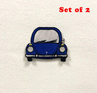 Beetle Car Blue Badge Clothes Iron on Sew on Embroidered Patch Set of 2