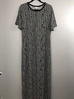 LuLaRoe Maria Maxi Dress Sz XL Black & White Geometric Pattern