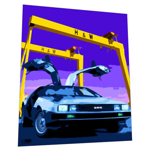 Delorean DMC-12 Wall Art - Graphic Art Poster With Harland & Wolfe, Belfast
