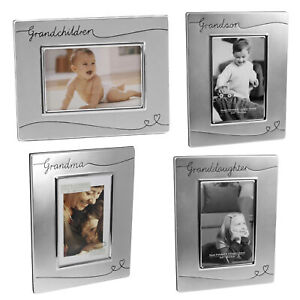 Silver Plated Satin Finish Photo Frame with Hearts - Choose Design