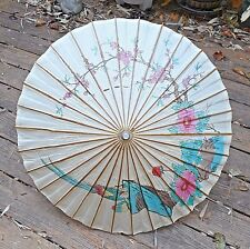 Antique Parasol Umbrella, Japanese Rice-Paper Bamboo Flowers Birds 31""