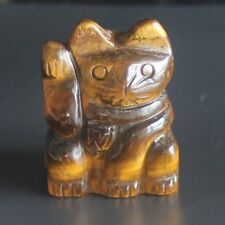 h40151 38mm Hand carved golden tiger eye fortune lucky cat figurine
