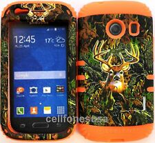 Hybrid Cover Case Samsung Galaxy Ace Style S765c Deer Camo Mossy Orange