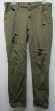 Women's GAP Girlfriend Army Green Destroyed Straight Leg Ankle Jeans sz 29 r