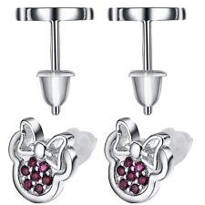 Minnie European 925 sterling silver Zirconia crystal round earring stud UK L1124