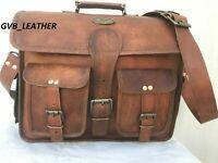 Real Leather Remarkable Vintage Satchel Messenger Shoulder Bag Handbag Brown